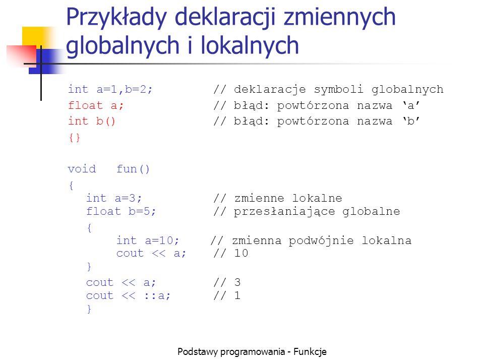 Podstawy programowania - Funkcje Przykłady deklaracji zmiennych globalnych i lokalnych int a=1,b=2;// deklaracje symboli globalnych float a;// błąd: p