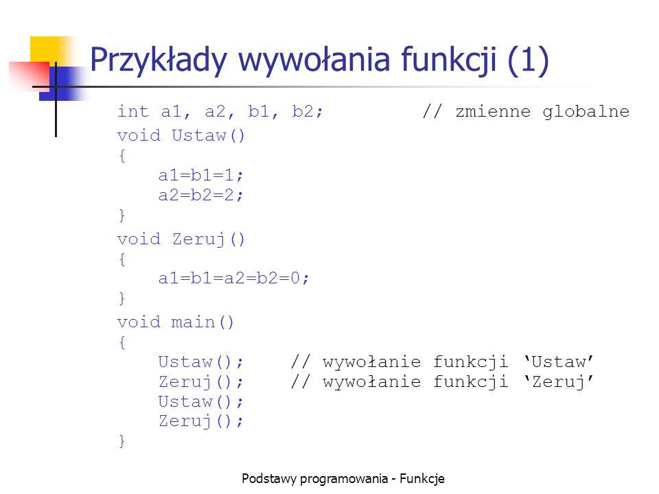 Podstawy programowania - Funkcje Przykłady wywołania funkcji (2) float pi()// ta funkcja musi być pierwsza { return 3.1415; } float dwapi() { return 2* pi(); // wywołanie pi } void main() { float Pole, Obwod, r=5; Pole = pi() * r*r;// wywołanie pi Obwod= dwapi() * r; // wywołanie dwapi }