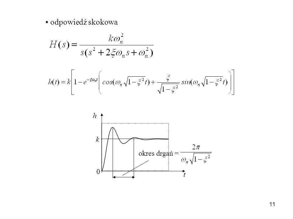 11 odpowiedź skokowa t h 0 k okres drgań =