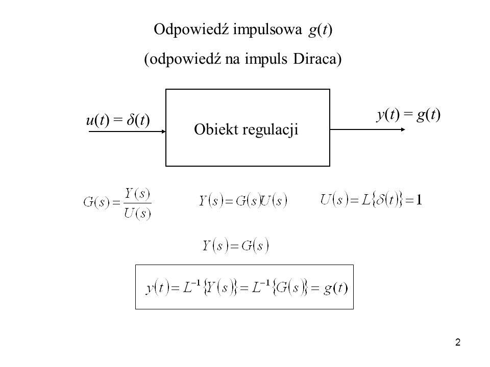 2 Odpowiedź impulsowa g(t) (odpowiedź na impuls Diraca) u(t) = δ(t) y(t) = g(t) Obiekt regulacji