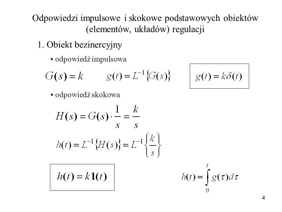 4 Odpowiedzi impulsowe i skokowe podstawowych obiektów (elementów, układów) regulacji 1. Obiekt bezinercyjny odpowiedź impulsowa odpowiedź skokowa