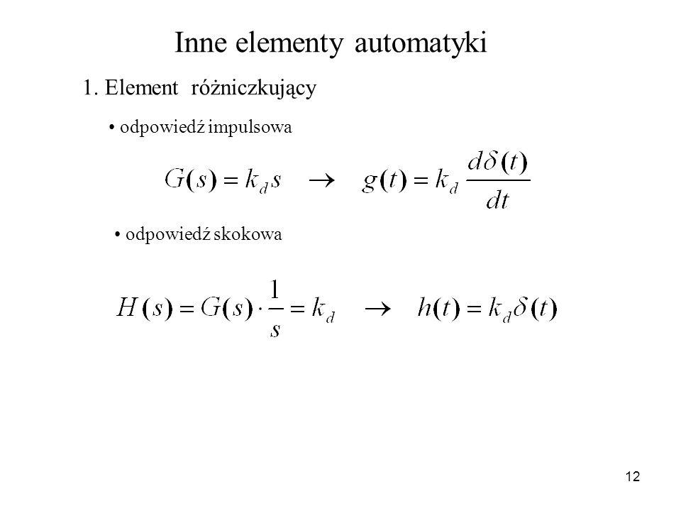 12 Inne elementy automatyki 1. Element różniczkujący odpowiedź impulsowa odpowiedź skokowa