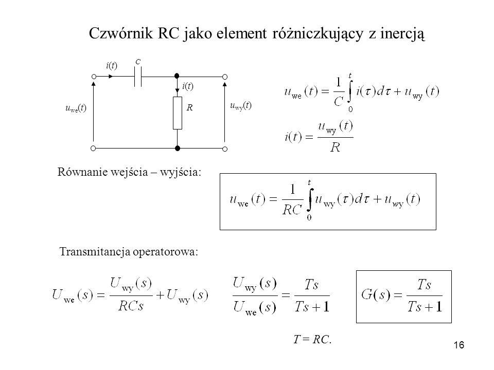 16 u wy (t) u we (t) R C i(t)i(t) i(t)i(t) Czwórnik RC jako element różniczkujący z inercją Równanie wejścia – wyjścia: Transmitancja operatorowa: T =