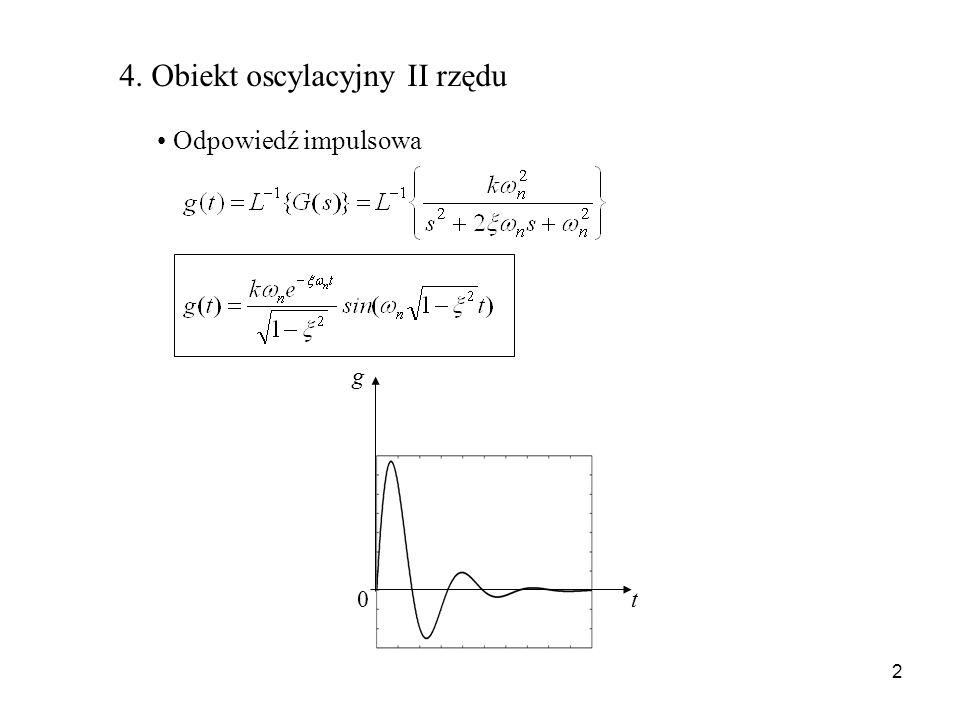 2 4. Obiekt oscylacyjny II rzędu Odpowiedź impulsowa g t 0