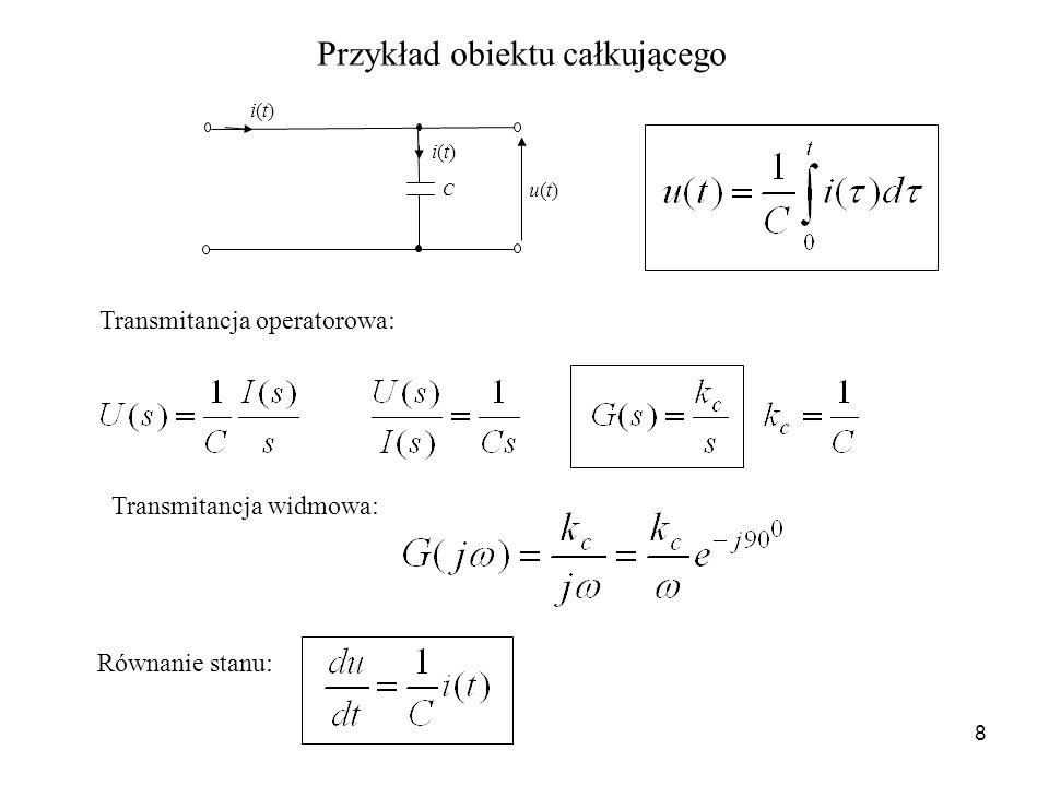 8 Przykład obiektu całkującego C u(t)u(t) i(t)i(t) i(t)i(t) Transmitancja operatorowa: Transmitancja widmowa: Równanie stanu: