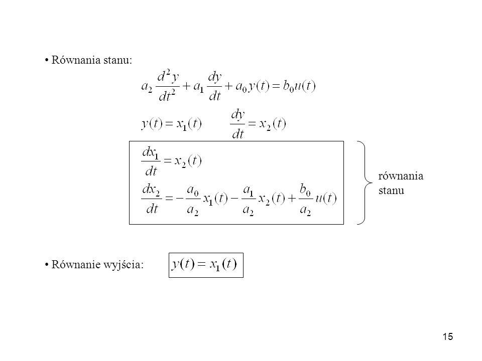 15 Równania stanu: Równanie wyjścia: równania stanu