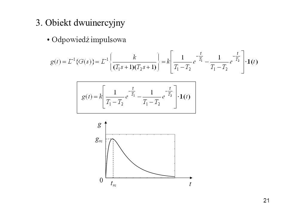 21 3. Obiekt dwuinercyjny Odpowiedź impulsowa g t 0 gmgm tmtm