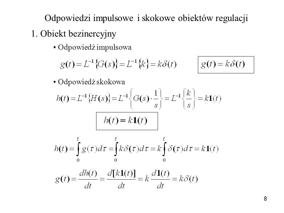 8 Odpowiedzi impulsowe i skokowe obiektów regulacji 1. Obiekt bezinercyjny Odpowiedź impulsowa Odpowiedź skokowa