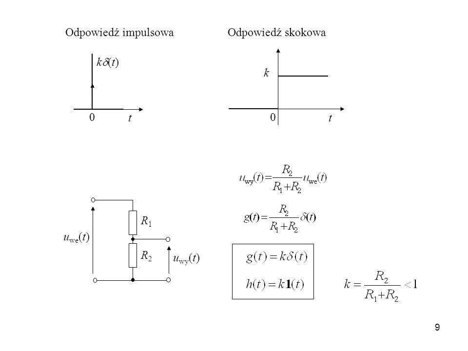 9 k (t) t 0 t k 0 u we (t) u wy (t) R1R1 R2R2 Odpowiedź impulsowaOdpowiedź skokowa