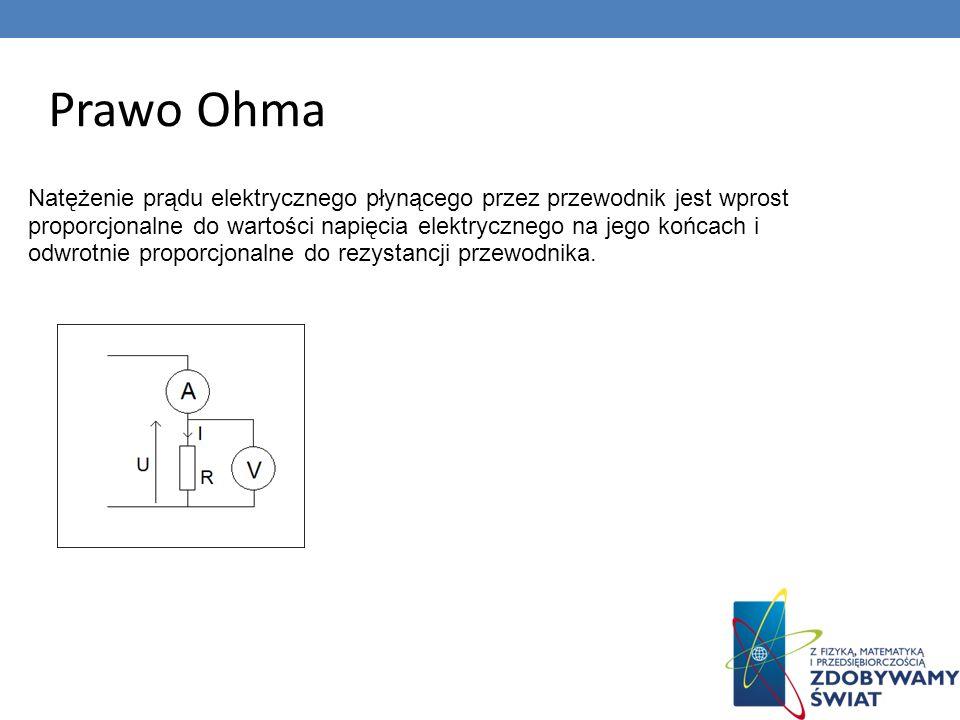 Prawo Ohma Natężenie prądu elektrycznego płynącego przez przewodnik jest wprost proporcjonalne do wartości napięcia elektrycznego na jego końcach i od