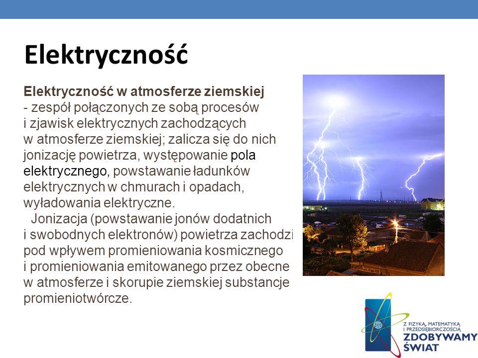Elektryczność Elektryczność w atmosferze ziemskiej - zespół połączonych ze sobą procesów i zjawisk elektrycznych zachodzących w atmosferze ziemskiej;