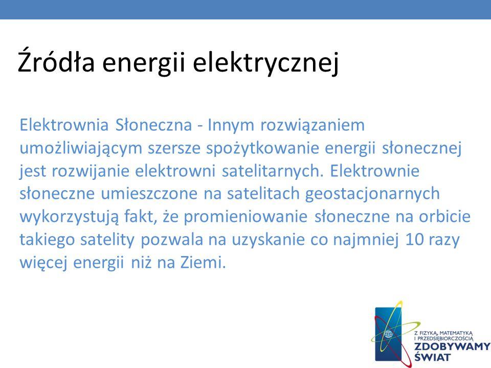 Źródła energii elektrycznej Elektrownia Słoneczna - Innym rozwiązaniem umożliwiającym szersze spożytkowanie energii słonecznej jest rozwijanie elektro