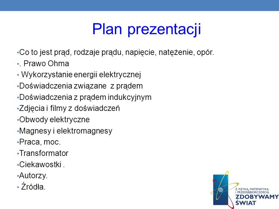 Plan prezentacji Co to jest prąd, rodzaje prądu, napięcie, natężenie, opór.. Prawo Ohma Wykorzystanie energii elektrycznej Doświadczenia związane z pr