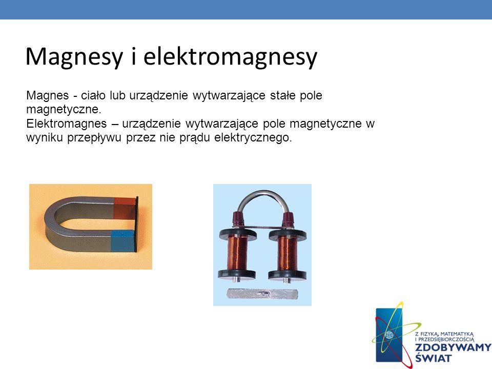 Magnesy i elektromagnesy Magnes - ciało lub urządzenie wytwarzające stałe pole magnetyczne. Elektromagnes – urządzenie wytwarzające pole magnetyczne w
