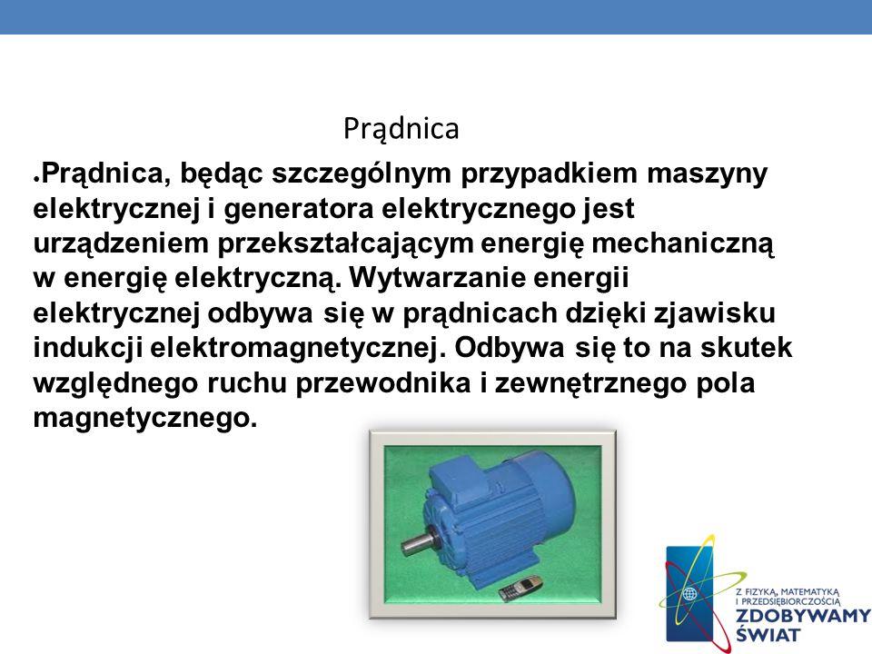 Prądnica, będąc szczególnym przypadkiem maszyny elektrycznej i generatora elektrycznego jest urządzeniem przekształcającym energię mechaniczną w energ