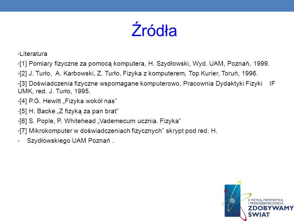 Źródła Literatura [1] Pomiary fizyczne za pomocą komputera, H. Szydłowski, Wyd. UAM, Poznań, 1999. [2] J. Turło, A. Karbowski, Z. Turło, Fizyka z komp