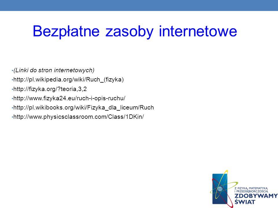 Bezpłatne zasoby internetowe (Linki do stron internetowych) http://pl.wikipedia.org/wiki/Ruch_(fizyka) http://fizyka.org/?teoria,3,2 http://www.fizyka