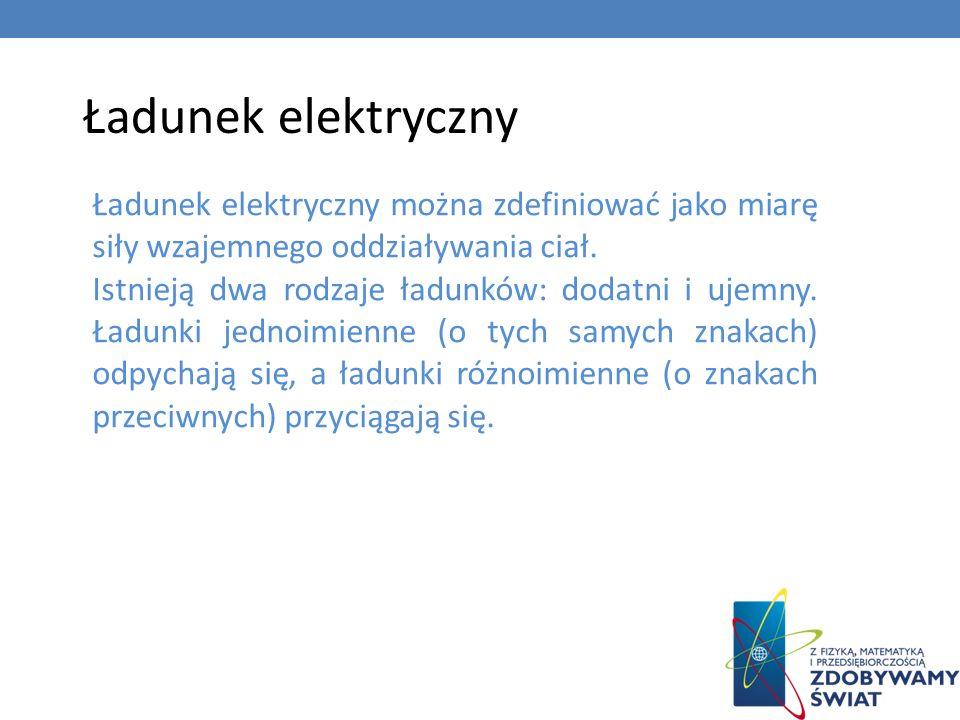 Ładunek elektryczny Ładunek elektryczny można zdefiniować jako miarę siły wzajemnego oddziaływania ciał. Istnieją dwa rodzaje ładunków: dodatni i ujem