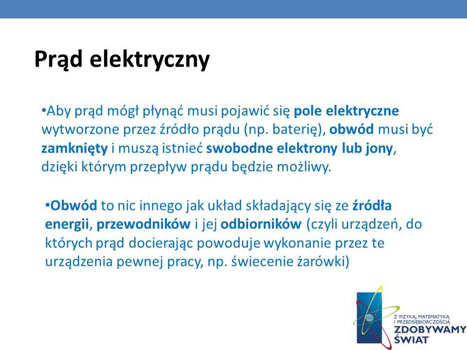 Aby prąd mógł płynąć musi pojawić się pole elektryczne wytworzone przez źródło prądu (np. baterię), obwód musi być zamknięty i muszą istnieć swobodne