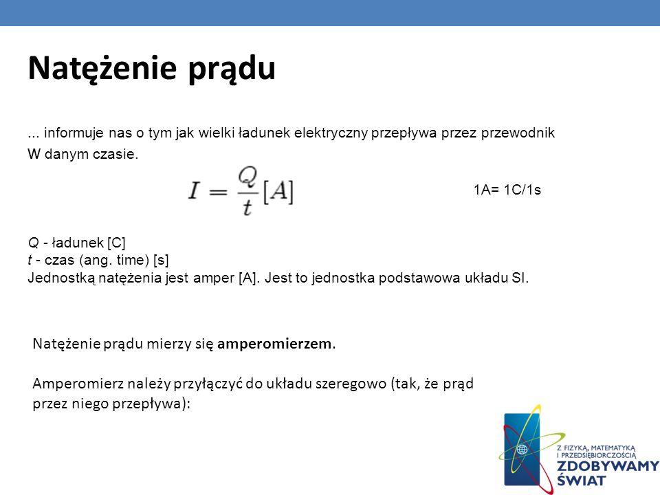 Natężenie prądu... informuje nas o tym jak wielki ładunek elektryczny przepływa przez przewodnik w danym czasie. 1A= 1C/1s Q - ładunek [C] t - czas (a