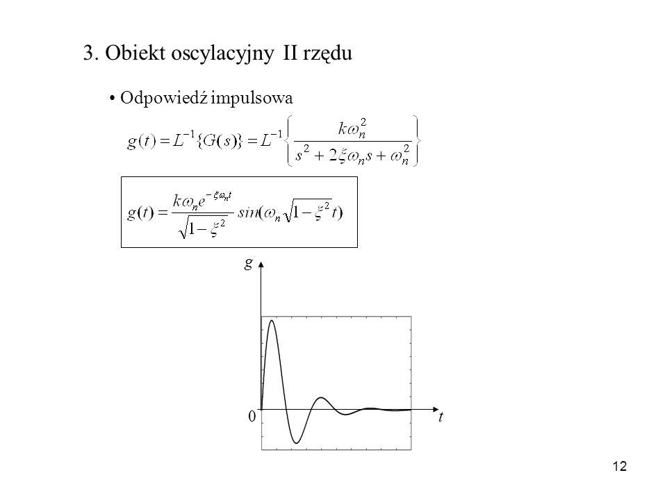 12 3. Obiekt oscylacyjny II rzędu Odpowiedź impulsowa g t 0