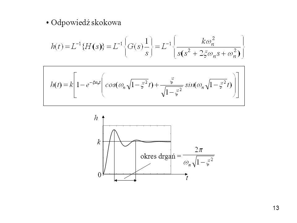 13 Odpowiedź skokowa t h 0 k okres drgań =