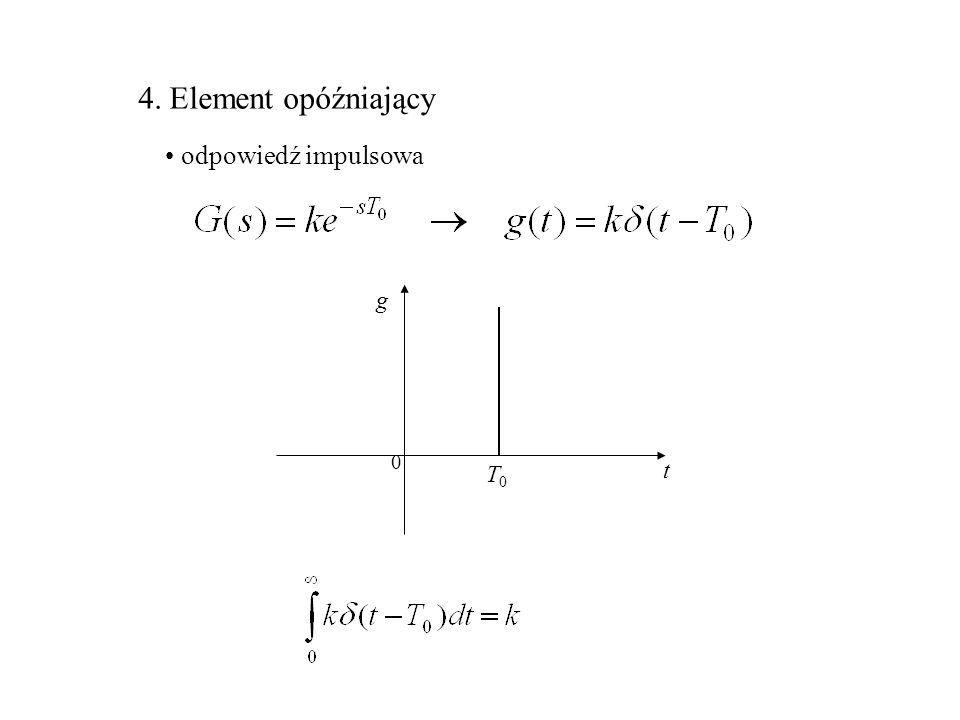 4. Element opóźniający odpowiedź impulsowa t g 0 T0T0