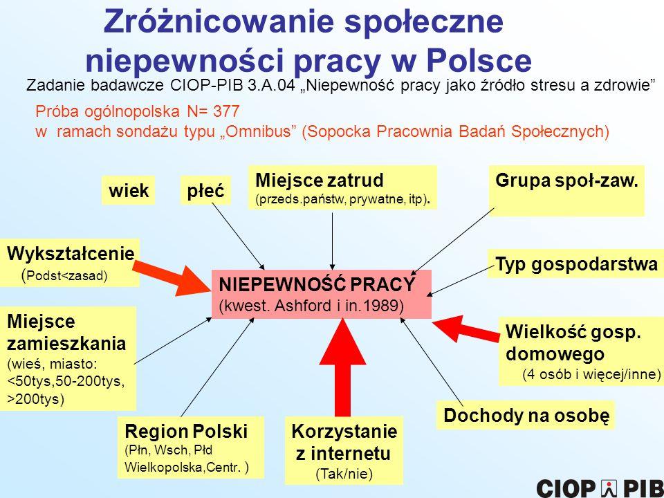 Zróżnicowanie społeczne niepewności pracy w Polsce Zadanie badawcze CIOP-PIB 3.A.04 Niepewność pracy jako źródło stresu a zdrowie NIEPEWNOŚĆ PRACY (kw