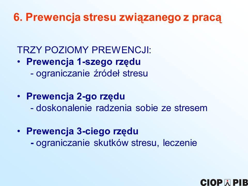 6. Prewencja stresu związanego z pracą TRZY POZIOMY PREWENCJI: Prewencja 1-szego rzędu - ograniczanie źródeł stresu Prewencja 2-go rzędu - doskonaleni