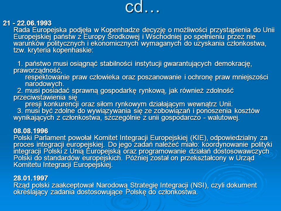 cd… cd… 21 - 22.06.1993 Rada Europejska podjęła w Kopenhadze decyzję o możliwości przystąpienia do Unii Europejskiej państw z Europy Środkowej i Wscho