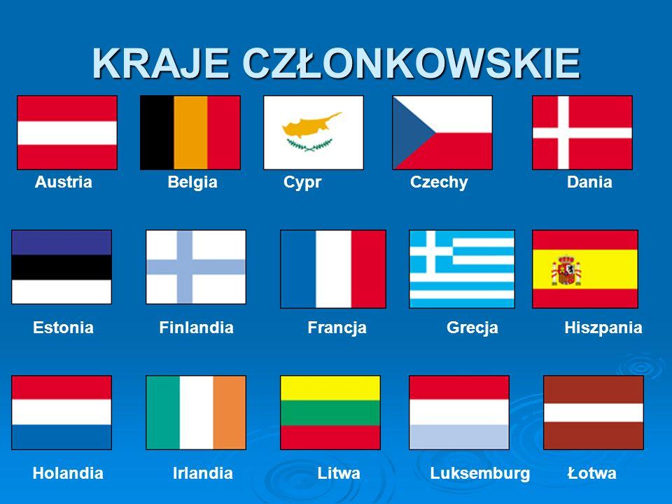 KRAJE CZŁONKOWSKIE Austria Belgia Cypr Czechy Dania Estonia Finlandia Francja Grecja Hiszpania Holandia Irlandia Litwa Luksemburg Łotwa