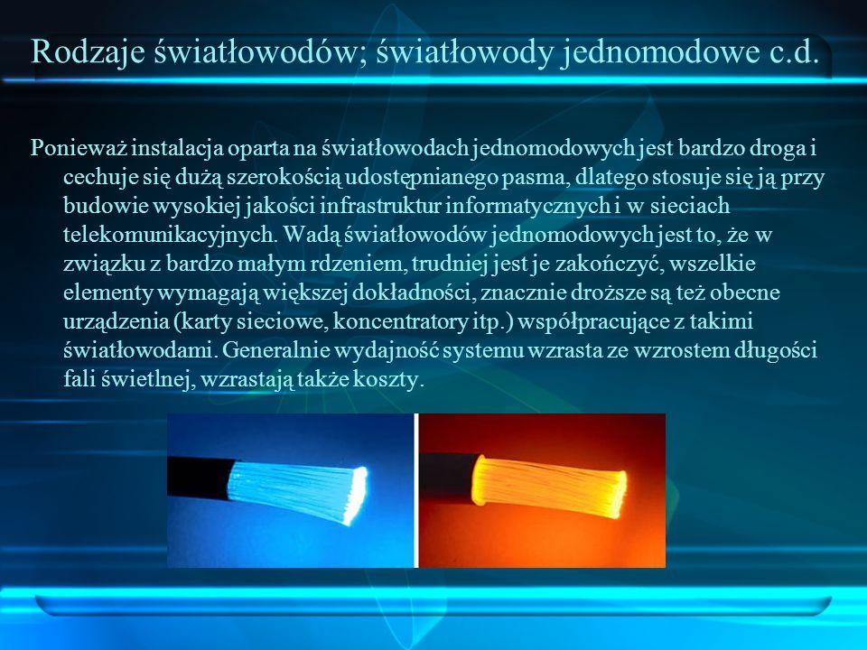 Rodzaje światłowodów; światłowody jednomodowe c.d. Ponieważ instalacja oparta na światłowodach jednomodowych jest bardzo droga i cechuje się dużą szer