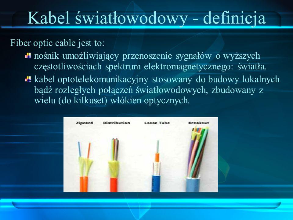 Kabel światłowodowy - definicja Fiber optic cable jest to: nośnik umożliwiający przenoszenie sygnałów o wyższych częstotliwościach spektrum elektromag