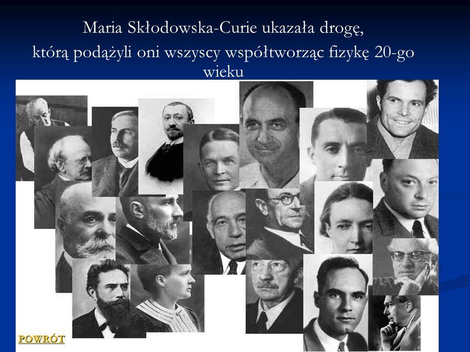 Maria Skłodowska-Curie ukazała drogę, którą podążyli oni wszyscy współtworząc fizykę 20-go wieku POWRÓT