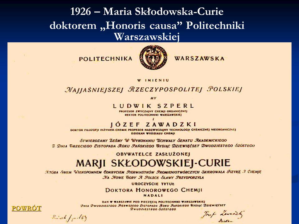 1926 – Maria Skłodowska-Curie doktorem Honoris causa Politechniki Warszawskiej POWRÓT