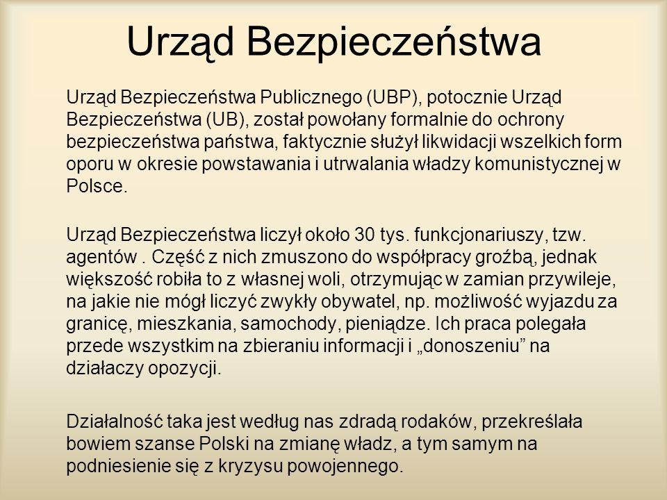 Urząd Bezpieczeństwa Urząd Bezpieczeństwa Publicznego (UBP), potocznie Urząd Bezpieczeństwa (UB), został powołany formalnie do ochrony bezpieczeństwa