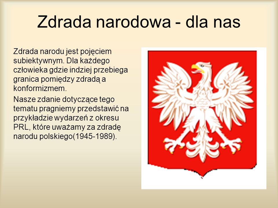 Zdrada narodowa - dla nas Zdrada narodu jest pojęciem subiektywnym. Dla każdego człowieka gdzie indziej przebiega granica pomiędzy zdradą a konformizm