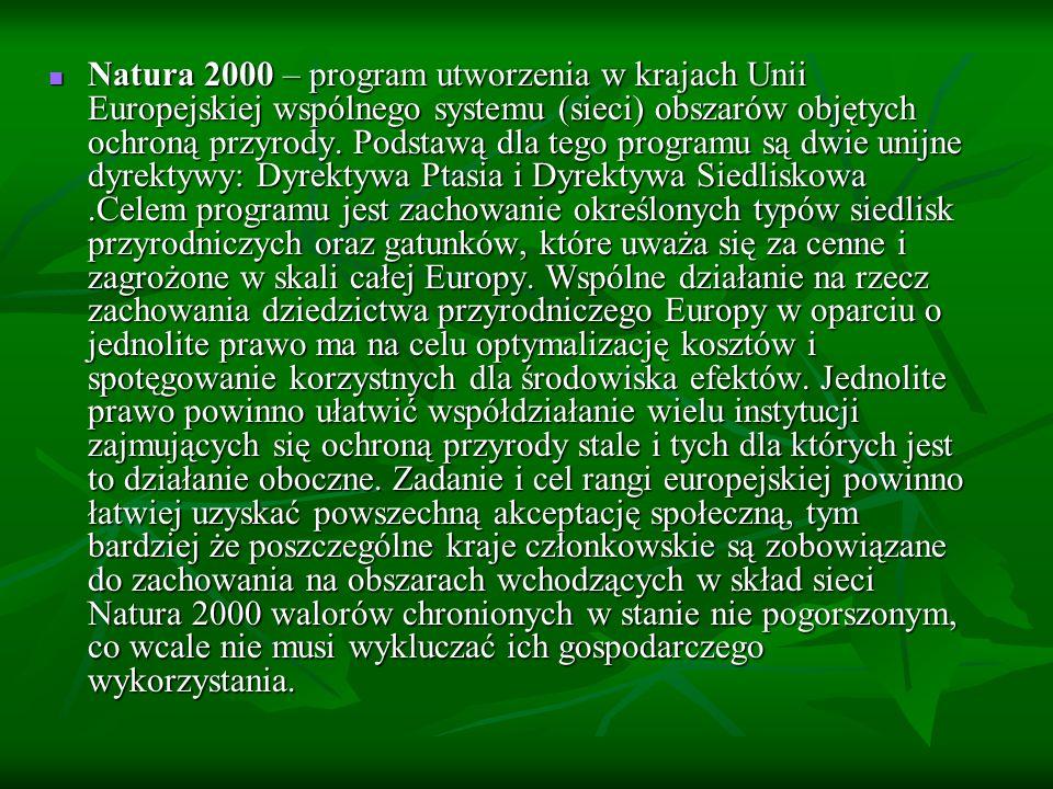Natura 2000 w Polsce W Polsce program Natura 2000 oficjalnie jest obecny od 2004 roku, czyli od momentu wstąpienia naszego kraju do Unii Europejskiej.