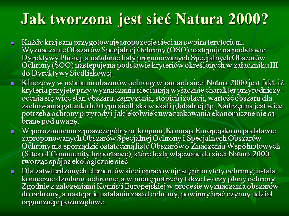 Jak tworzona jest sieć Natura 2000? Każdy kraj sam przygotowuje propozycję sieci na swoim terytorium. Wyznaczanie Obszarów Specjalnej Ochrony (OSO) na