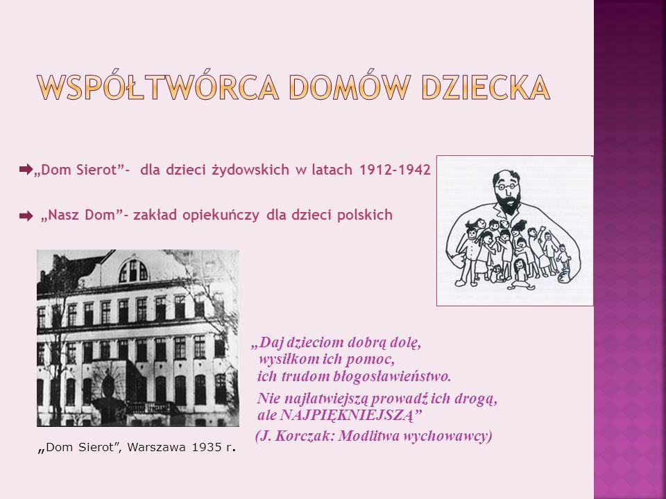Dom Sierot- dla dzieci żydowskich w latach 1912-1942 Nasz Dom- zakład opiekuńczy dla dzieci polskich.