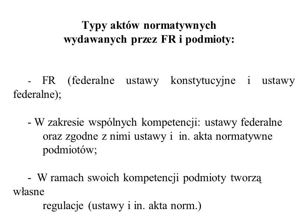 Typy aktów normatywnych wydawanych przez FR i podmioty: - FR (federalne ustawy konstytucyjne i ustawy federalne); - W zakresie wspólnych kompetencji: