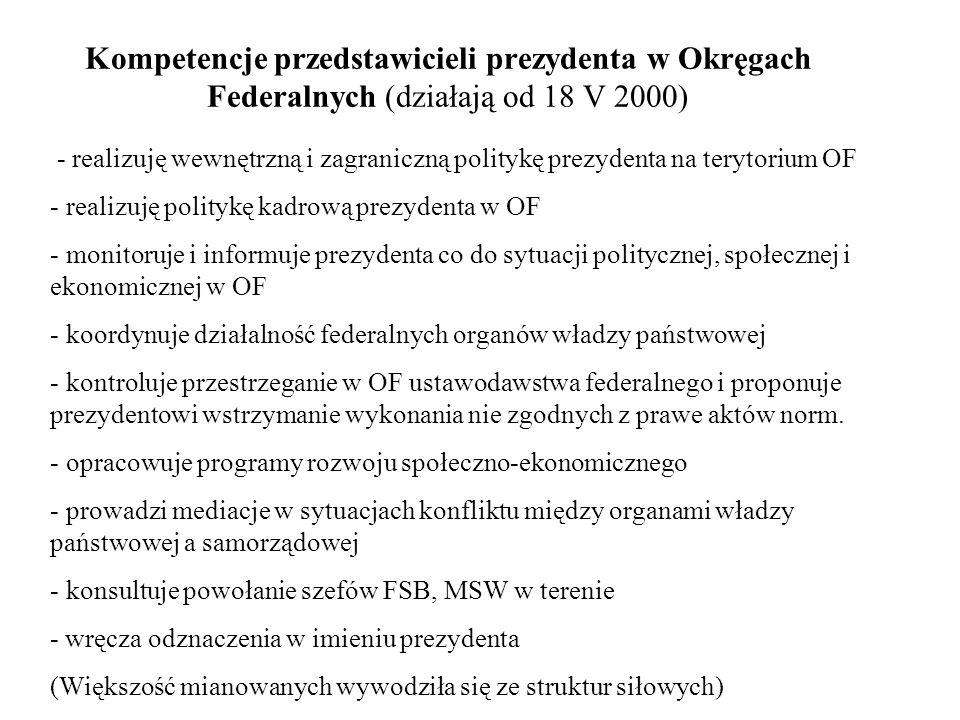 Kompetencje przedstawicieli prezydenta w Okręgach Federalnych (działają od 18 V 2000) - realizuję wewnętrzną i zagraniczną politykę prezydenta na tery