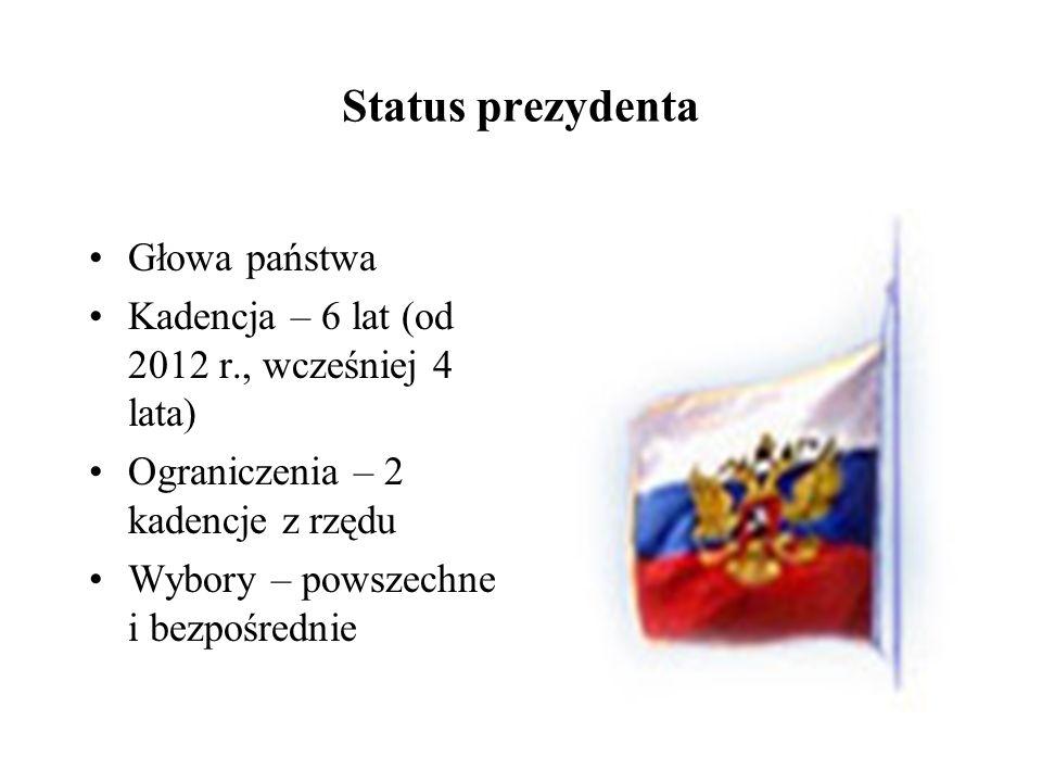 Status prezydenta Głowa państwa Kadencja – 6 lat (od 2012 r., wcześniej 4 lata) Ograniczenia – 2 kadencje z rzędu Wybory – powszechne i bezpośrednie