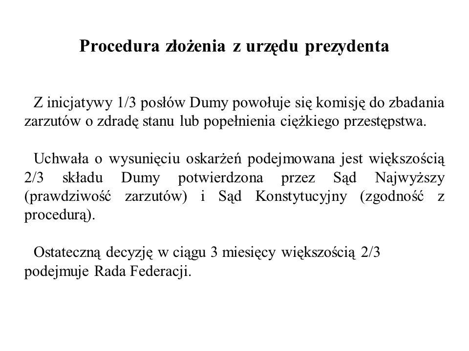 Procedura złożenia z urzędu prezydenta Z inicjatywy 1/3 posłów Dumy powołuje się komisję do zbadania zarzutów o zdradę stanu lub popełnienia ciężkiego