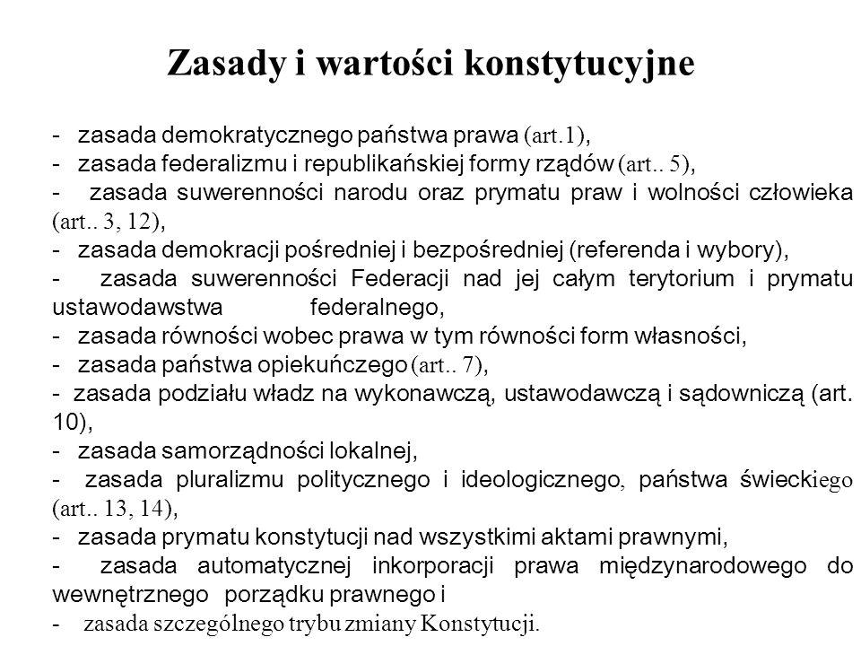 Ustrój federalny Rosji Najważniejsze zasady federalizmu FR: - terytorium FR składa się z poszczególnych terytoriów podmiotów federacji; - podmioty federacji są reprezentowane w Radzie Federacji (izbie wyższej); - federalizm rosyjski ma podłoże konstytucyjne, dlatego kompetencje pomiędzy FR a jej podmiotami rozgraniczane są na gruncie prawa; - asymetryczność federacji polega na tym, iż jej podmioty mają różny status konstytucyjny.