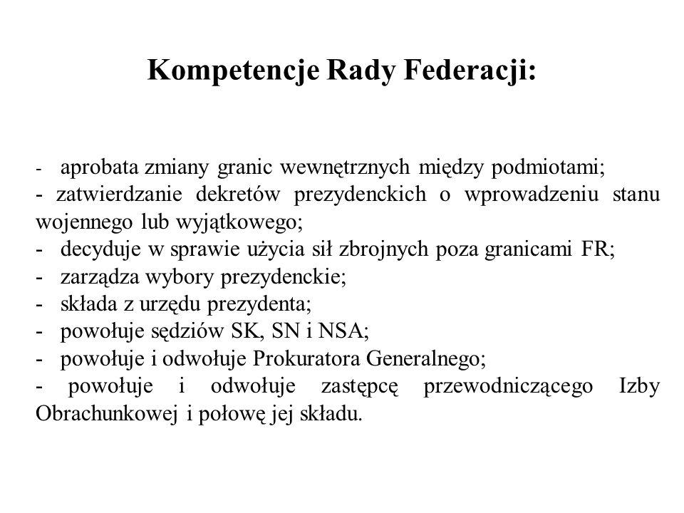 Kompetencje Rady Federacji: - aprobata zmiany granic wewnętrznych między podmiotami; - zatwierdzanie dekretów prezydenckich o wprowadzeniu stanu wojen