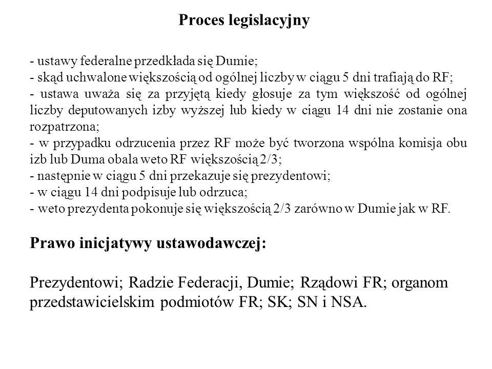 Proces legislacyjny - ustawy federalne przedkłada się Dumie; - skąd uchwalone większością od ogólnej liczby w ciągu 5 dni trafiają do RF; - ustawa uwa