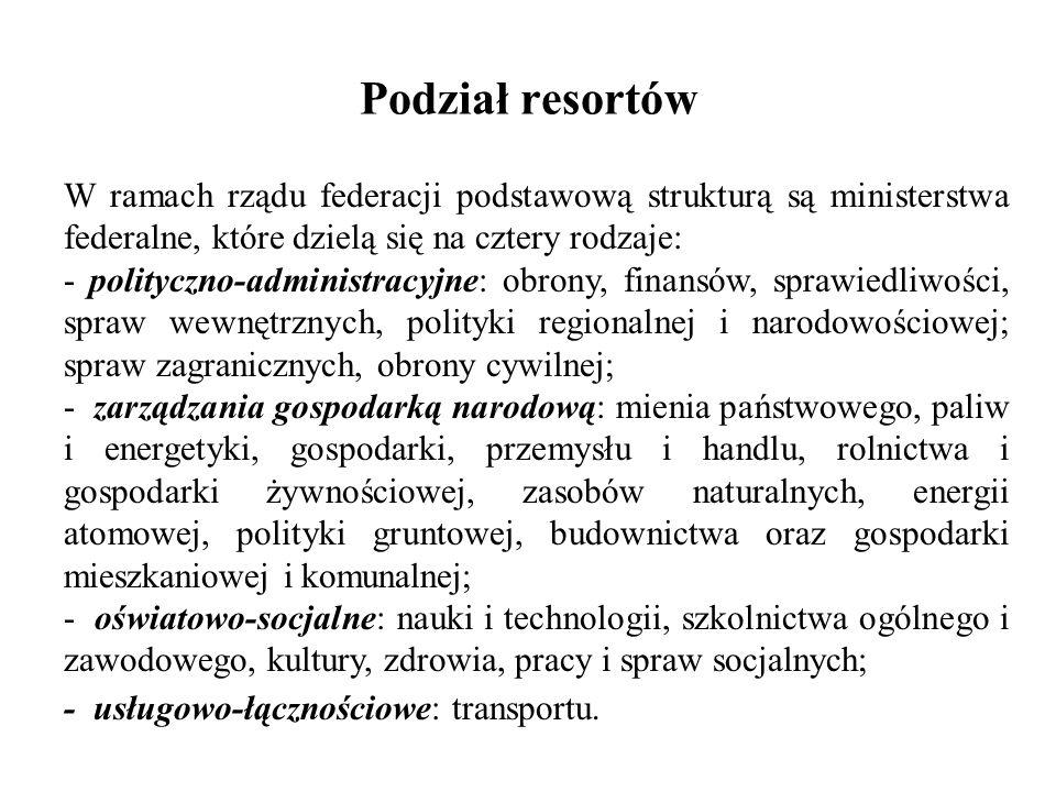 Podział resortów W ramach rządu federacji podstawową strukturą są ministerstwa federalne, które dzielą się na cztery rodzaje: - polityczno-administrac