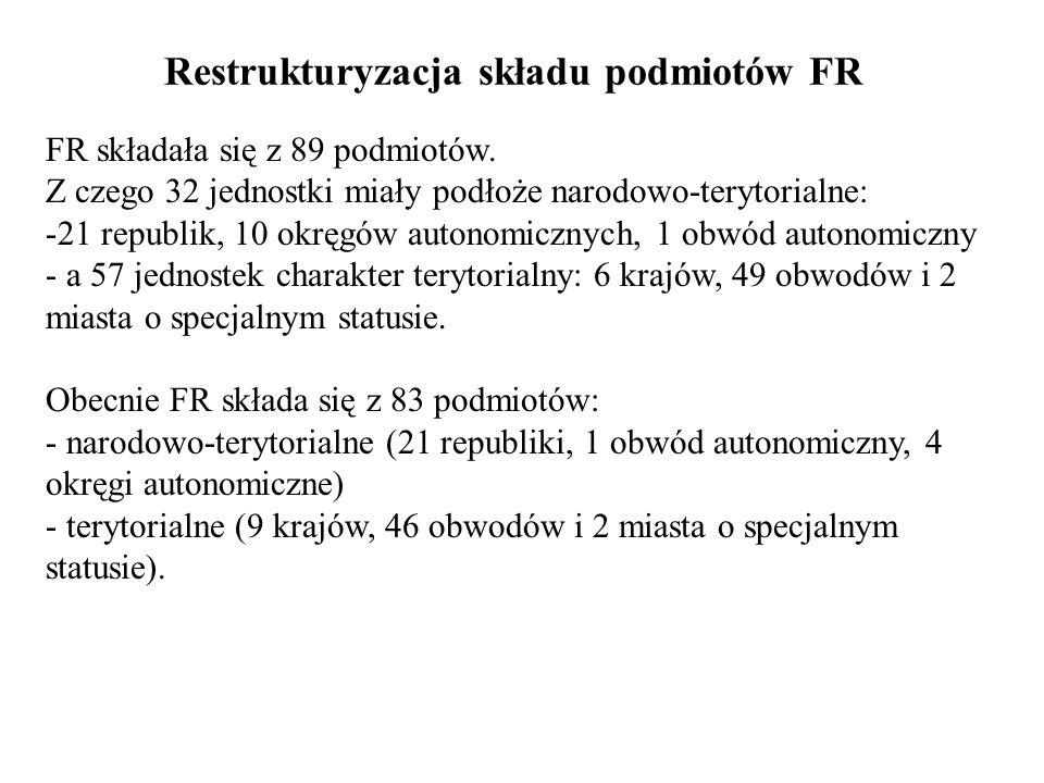 Kompetencje Prezydenta FR (cd.) - zarządza wybory do Dumy i ją rozwiązuje, w określonym trybie; - przedkłada projekty ustaw, wydaje dekrety i rozporządzenia, zarządza referendum; - podpisuje lub wetuje uchwalone ustawy; - zawiesza akta normatywne rządu i podmiotów FR sprzeczne z ustawodawstwem FR; - zwraca się do parlamentu z dorocznymi orędziami; - korzysta z procedury rozjemczej w sporach pomiędzy organami władzy federacji i jej podmiotów; - sprawy obywatelstwa, odznaczenia państwowe i stosuje prawo łaski.