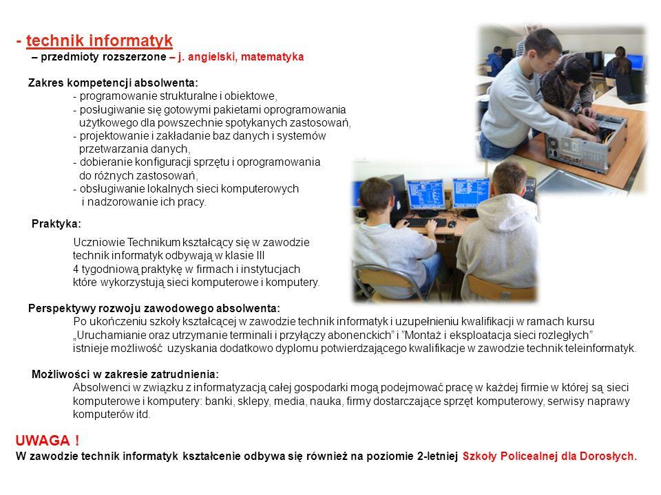 - technik informatyk – przedmioty rozszerzone – j. angielski, matematyka Zakres kompetencji absolwenta: - programowanie strukturalne i obiektowe, - po